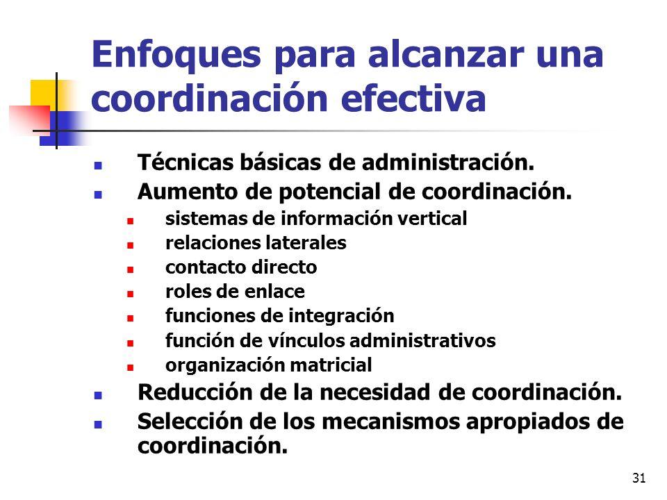 31 Enfoques para alcanzar una coordinación efectiva Técnicas básicas de administración. Aumento de potencial de coordinación. sistemas de información