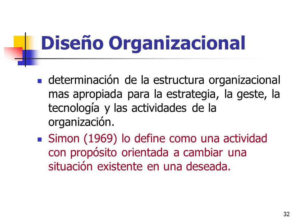 32 Diseño Organizacional determinación de la estructura organizacional mas apropiada para la estrategia, la geste, la tecnología y las actividades de