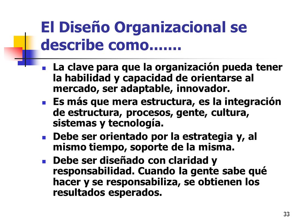 33 El Diseño Organizacional se describe como....... La clave para que la organización pueda tener la habilidad y capacidad de orientarse al mercado, s
