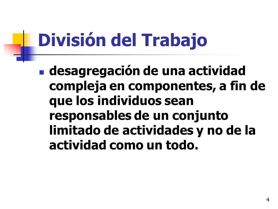 4 División del Trabajo desagregación de una actividad compleja en componentes, a fin de que los individuos sean responsables de un conjunto limitado d