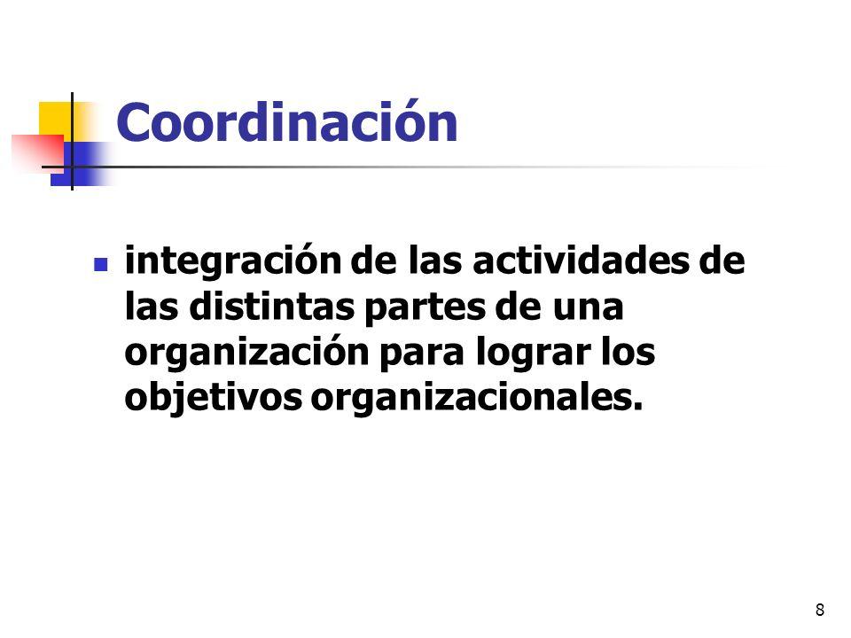 8 Coordinación integración de las actividades de las distintas partes de una organización para lograr los objetivos organizacionales.