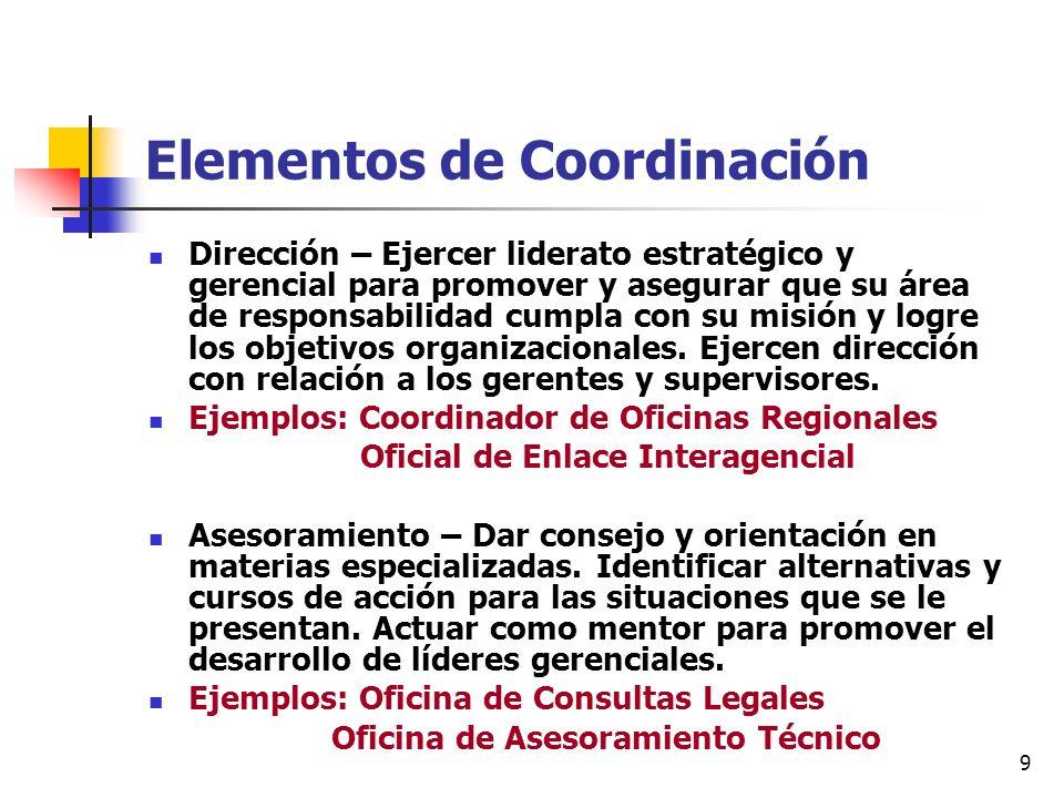 9 Elementos de Coordinación Dirección – Ejercer liderato estratégico y gerencial para promover y asegurar que su área de responsabilidad cumpla con su