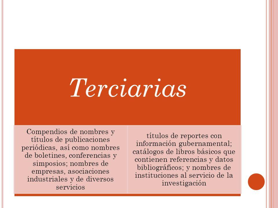 Terciarias Compendios de nombres y títulos de publicaciones periódicas, así como nombres de boletines, conferencias y simposios; nombres de empresas,