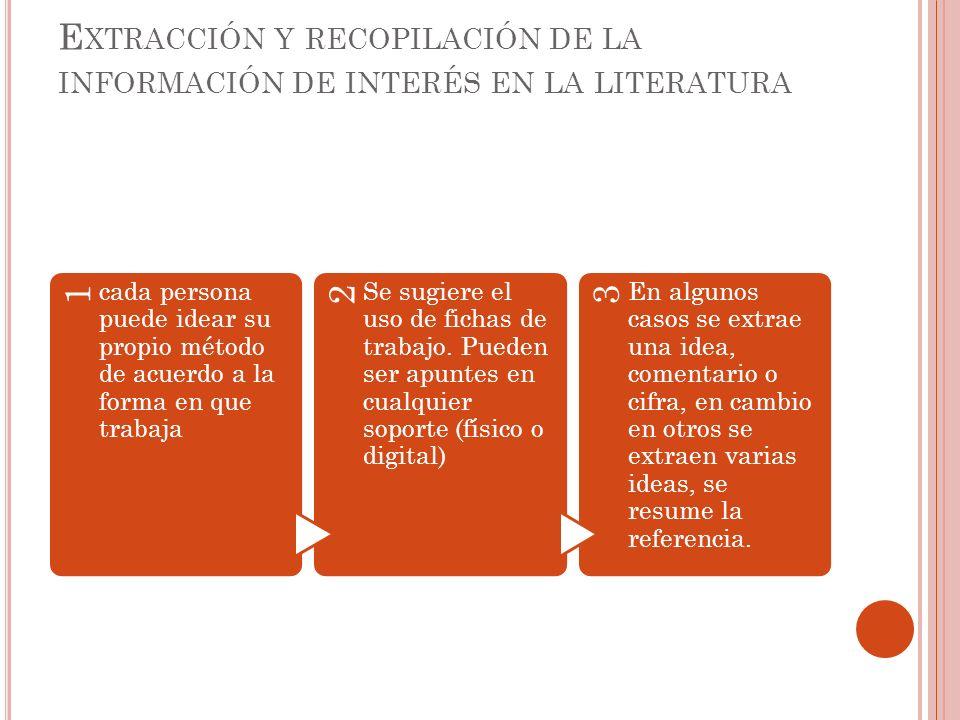 E XTRACCIÓN Y RECOPILACIÓN DE LA INFORMACIÓN DE INTERÉS EN LA LITERATURA 1 cada persona puede idear su propio método de acuerdo a la forma en que trab