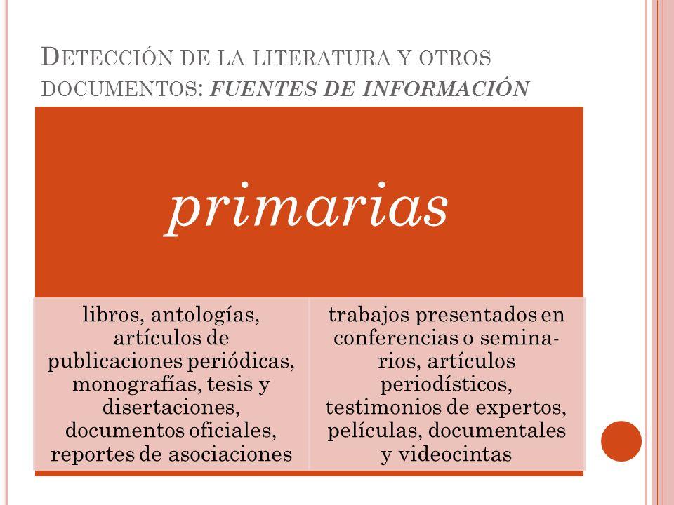 D ETECCIÓN DE LA LITERATURA Y OTROS DOCUMENTOS : FUENTES DE INFORMACIÓN primarias libros, antologías, artículos de publicaciones periódicas, monografí