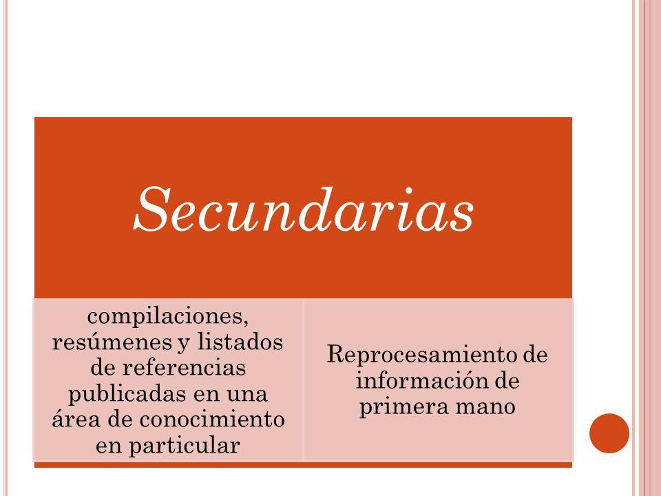Secundarias compilaciones, resúmenes y listados de referencias publicadas en una área de conocimiento en particular Reprocesamiento de información de