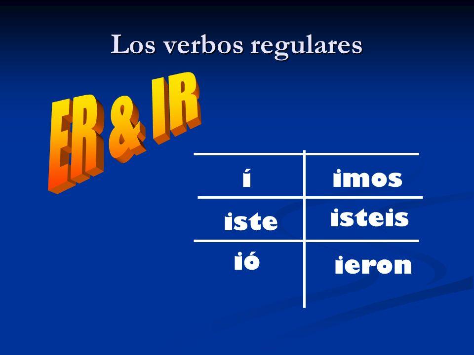 Los verbos regulares Práctica rápida 1.Yo / hablar 2.