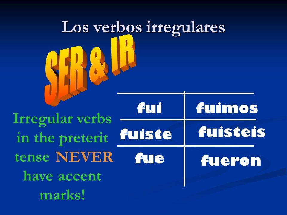 Los verbos irregulares fui fuiste fue fueron fuisteis fuimos Irregular verbs in the preterit tense _______ have accent marks! NEVER