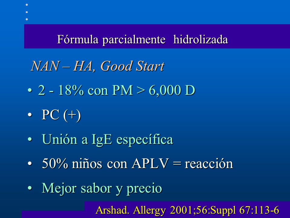 Fórmula parcialmente hidrolizada NAN – HA, Good Start NAN – HA, Good Start 2 - 18% con PM > 6,000 D2 - 18% con PM > 6,000 D PC (+) PC (+) Unión a IgE