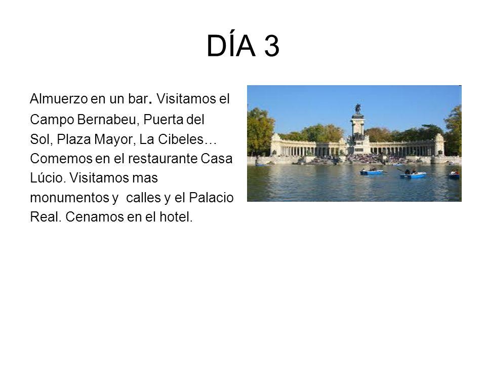 DÍA 3 Almuerzo en un bar. Visitamos el Campo Bernabeu, Puerta del Sol, Plaza Mayor, La Cibeles… Comemos en el restaurante Casa Lúcio. Visitamos mas mo