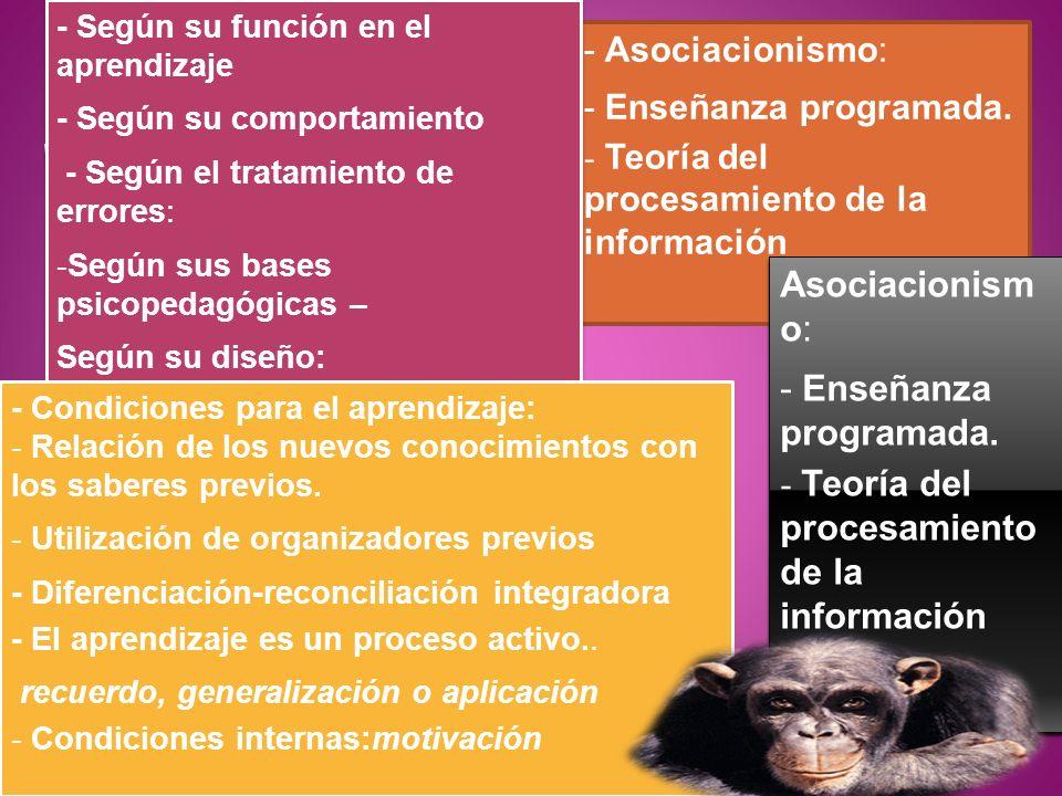 - Asociacionismo: - Enseñanza programada. - Teoría del procesamiento de la información Asociacionism o: - Enseñanza programada. - Teoría del procesami