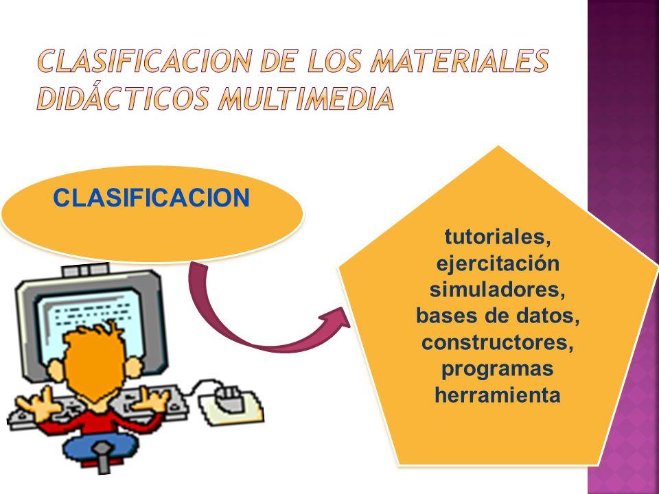 CLASIFICACION tutoriales, ejercitación simuladores, bases de datos, constructores, programas herramienta