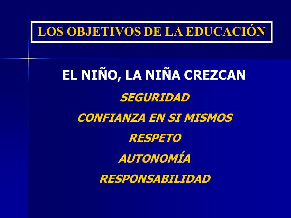 LOS OBJETIVOS DE LA EDUCACIÓN EL NIÑO, LA NIÑA CREZCAN SEGURIDAD CONFIANZA EN SI MISMOS RESPETO AUTONOMÍA RESPONSABILIDAD