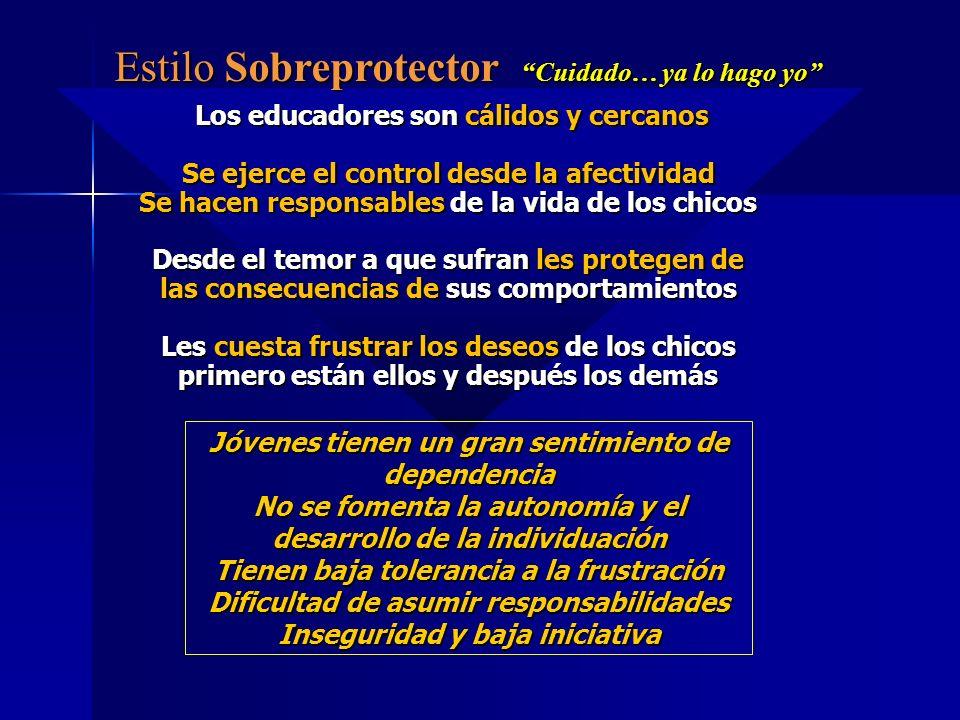 Estilo Sobreprotector Cuidado… ya lo hago yo Los educadores son cálidos y cercanos Los educadores son cálidos y cercanos Se ejerce el control desde la
