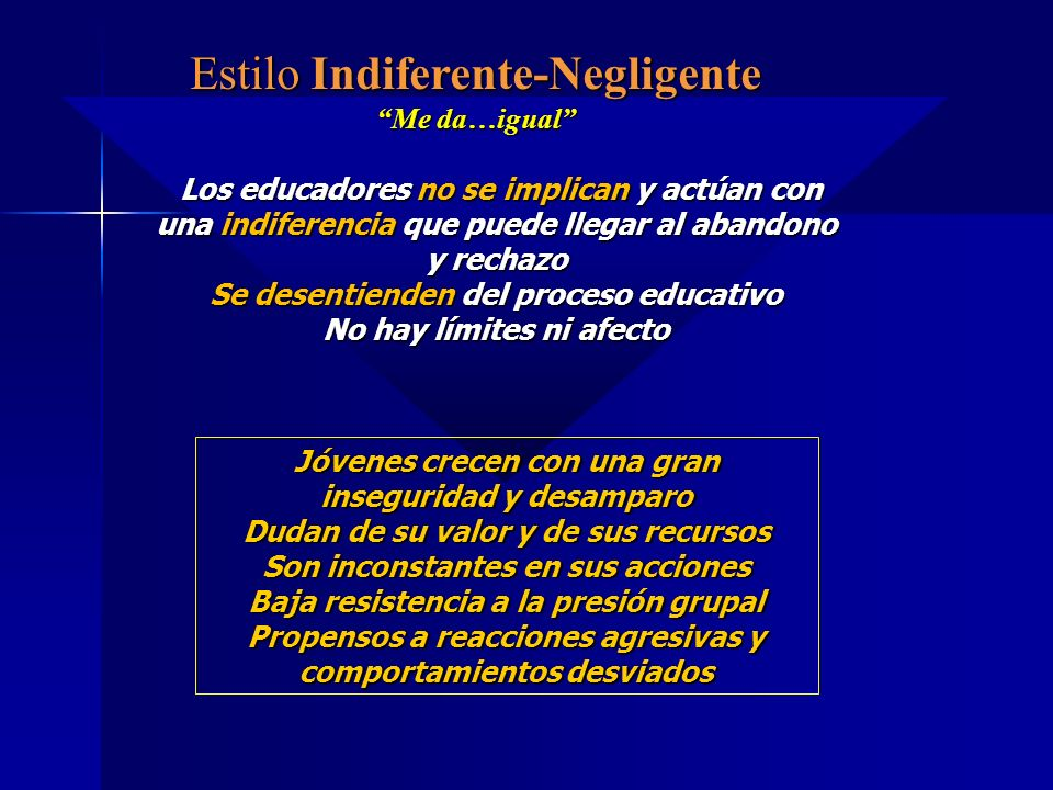 Estilo Indiferente-Negligente Me da…igual Los educadores no se implican y actúan con una indiferencia que puede llegar al abandono y rechazo Los educa