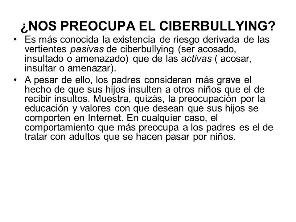 ¿NOS PREOCUPA EL CIBERBULLYING? Es más conocida la existencia de riesgo derivada de las vertientes pasivas de ciberbullying (ser acosado, insultado o