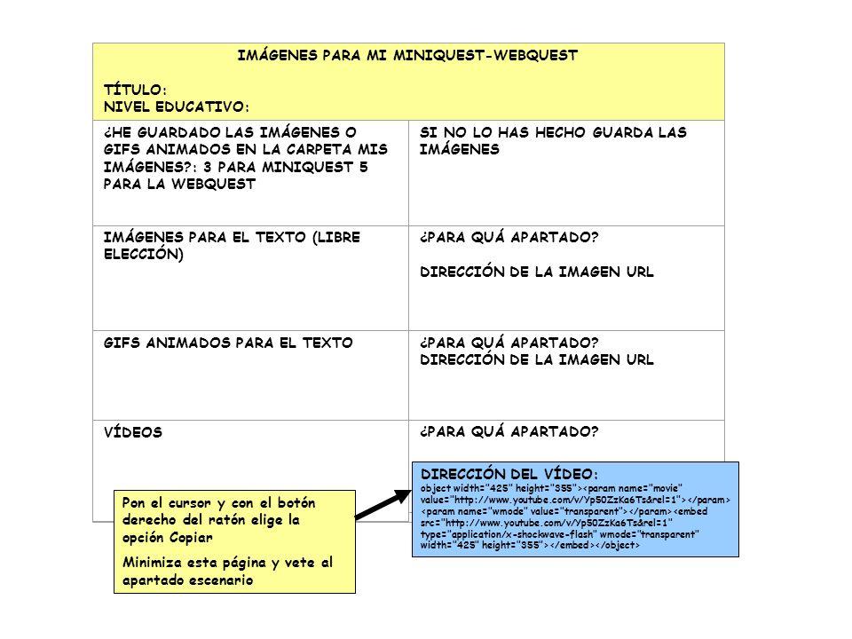 IMÁGENES PARA MI MINIQUEST-WEBQUEST TÍTULO: NIVEL EDUCATIVO: ¿HE GUARDADO LAS IMÁGENES O GIFS ANIMADOS EN LA CARPETA MIS IMÁGENES?: 3 PARA MINIQUEST 5