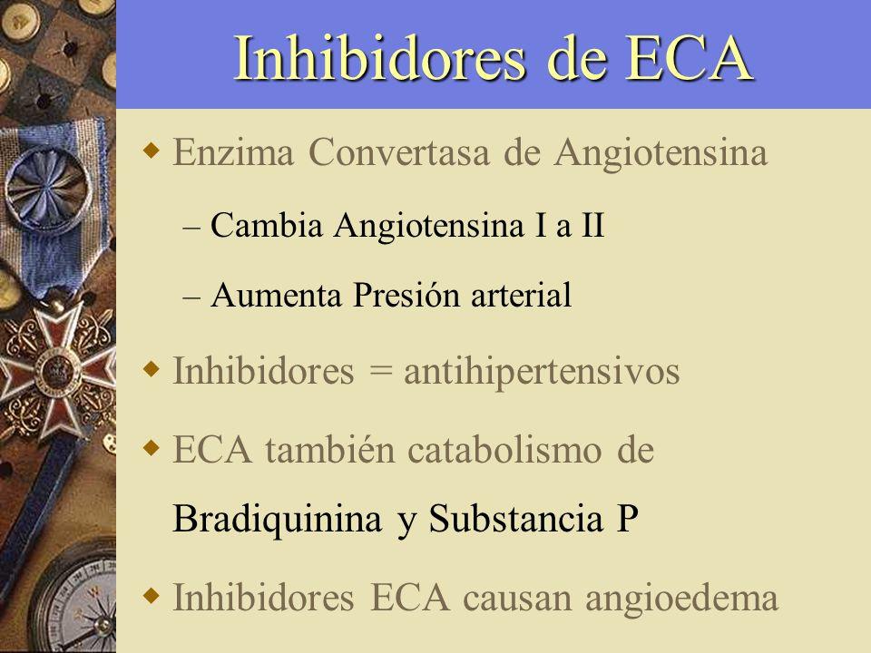 Inhibidores de ECA Enzima Convertasa de Angiotensina – Cambia Angiotensina I a II – Aumenta Presión arterial Inhibidores = antihipertensivos ECA tambi