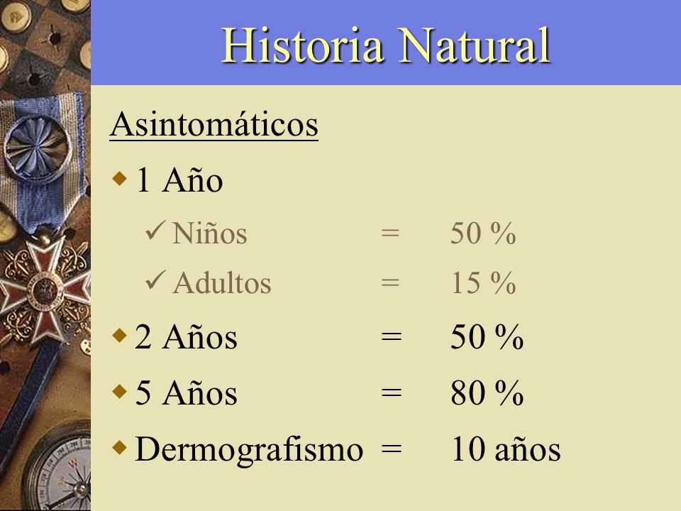 Historia Natural Asintomáticos 1 Año Niños =50 % Adultos=15 % 2 Años=50 % 5 Años=80 % Dermografismo=10 años