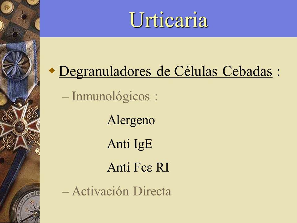 Urticaria Activación Directa : – Compuestos endógenos : Anafilotoxinas (C3a, C4a, C5a) Factor liberador de histamina Hormonas (estrógenos) Neuropéptidos (Subst.