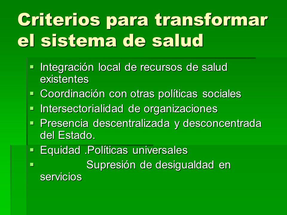 Criterios para transformar el sistema de salud Integración local de recursos de salud existentes Integración local de recursos de salud existentes Coo