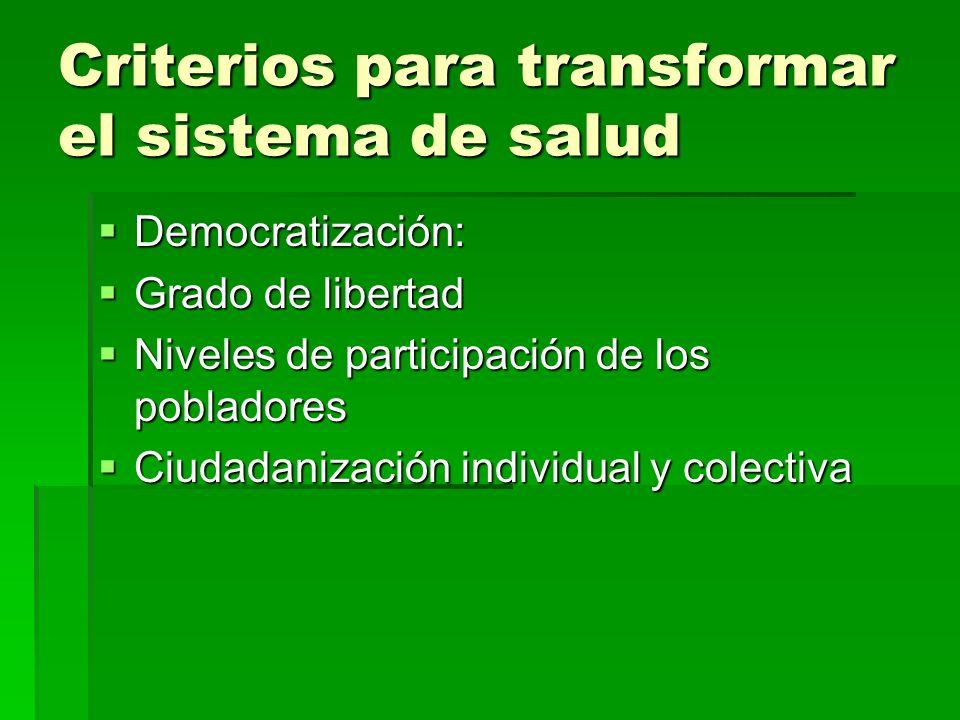 Criterios para transformar el sistema de salud Democratización: Democratización: Grado de libertad Grado de libertad Niveles de participación de los p