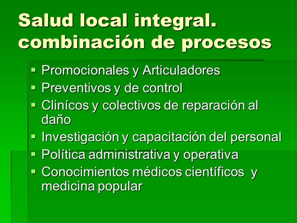 Salud local integral. combinación de procesos Promocionales y Articuladores Promocionales y Articuladores Preventivos y de control Preventivos y de co