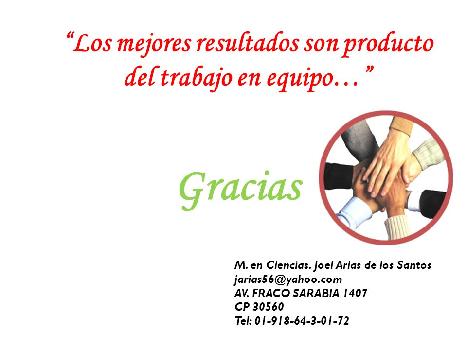 Los mejores resultados son producto del trabajo en equipo… Gracias M. en Ciencias. Joel Arias de los Santos jarias56@yahoo.com AV. FRACO SARABIA 1407