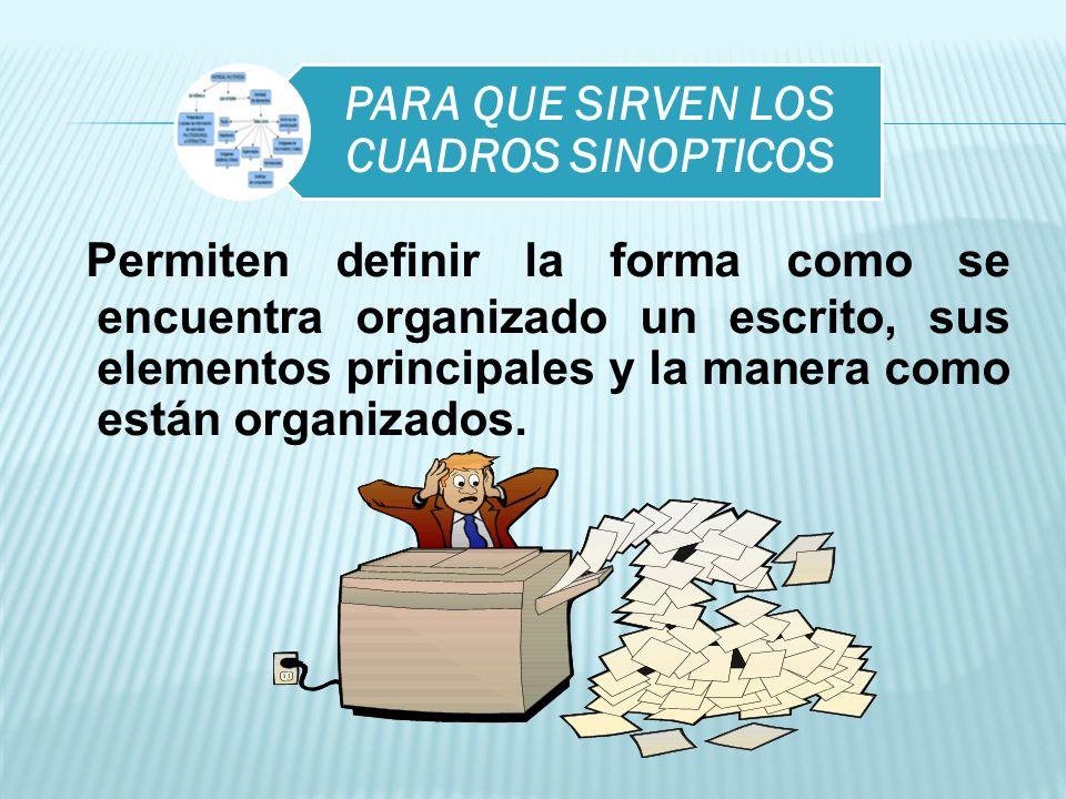 PARA QUE SIRVEN LOS CUADROS SINOPTICOS Permiten definir la forma como se encuentra organizado un escrito, sus elementos principales y la manera como e