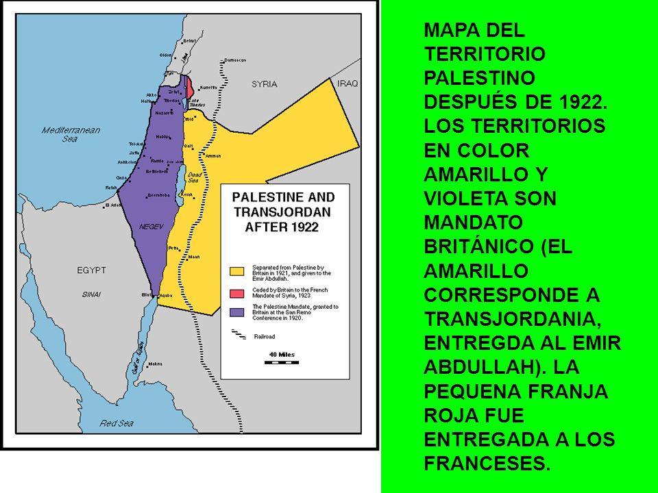 MAPA DEL TERRITORIO PALESTINO DESPUÉS DE 1922. LOS TERRITORIOS EN COLOR AMARILLO Y VIOLETA SON MANDATO BRITÁNICO (EL AMARILLO CORRESPONDE A TRANSJORDA