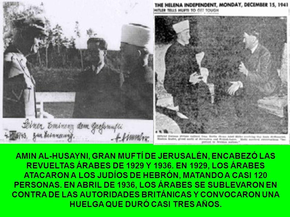 AMIN AL-HUSAYNI, GRAN MUFTÍ DE JERUSALÉN, ENCABEZÓ LAS REVUELTAS ÁRABES DE 1929 Y 1936. EN 1929, LOS ÁRABES ATACARON A LOS JUDÍOS DE HEBRÓN, MATANDO A