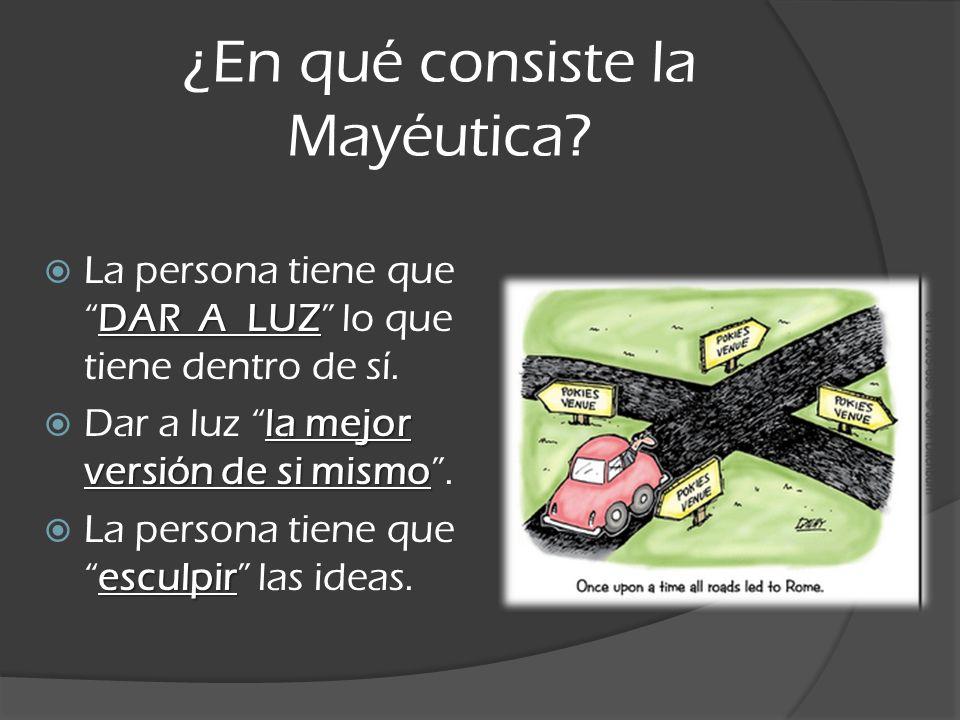 ¿En qué consiste la Mayéutica? DAR A LUZ La persona tiene queDAR A LUZ lo que tiene dentro de sí. la mejor versión de si mismo Dar a luz la mejor vers