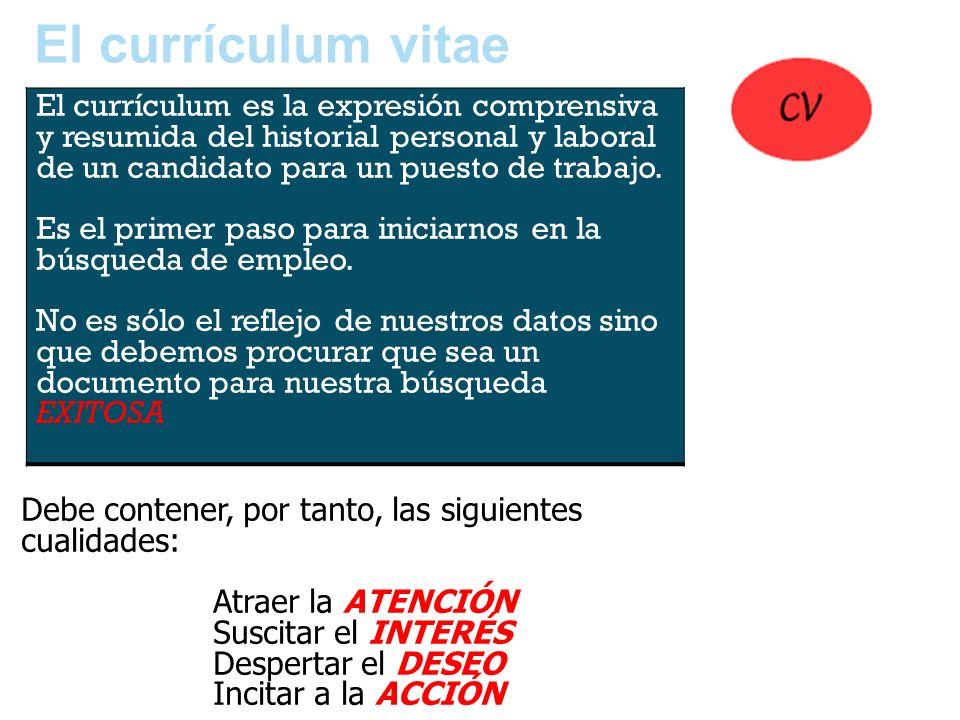 El currículum vitae Debe contener, por tanto, las siguientes cualidades: Atraer la ATENCIÓN Suscitar el INTERÉS Despertar el DESEO Incitar a la ACCIÓN