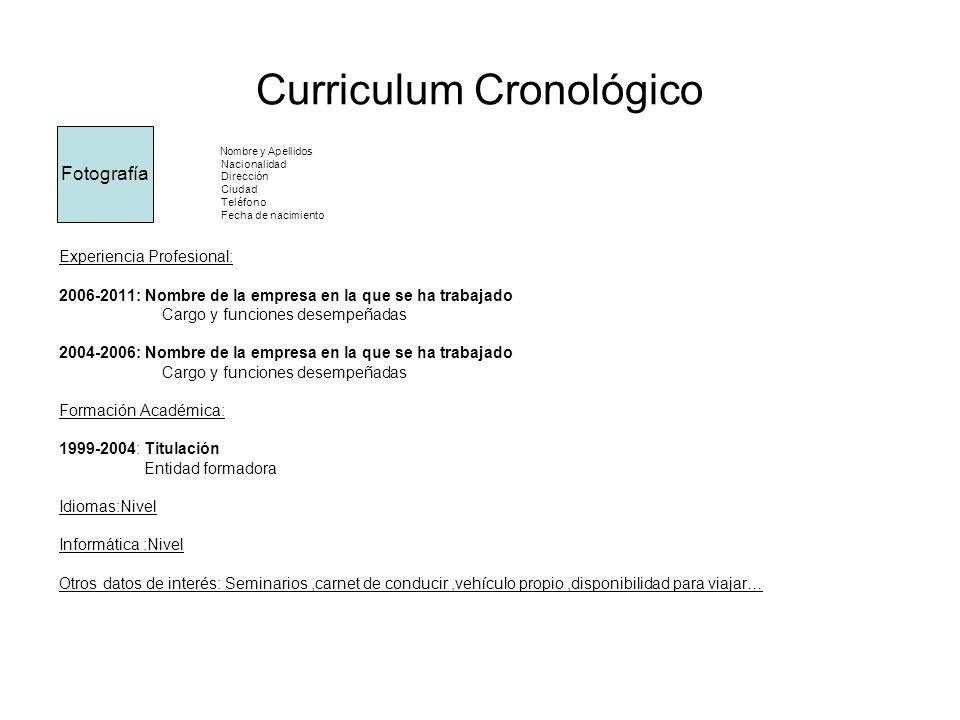 Curriculum Cronológico Nombre y Apellidos Nacionalidad Dirección Ciudad Teléfono Fecha de nacimiento Experiencia Profesional: 2006-2011: Nombre de la