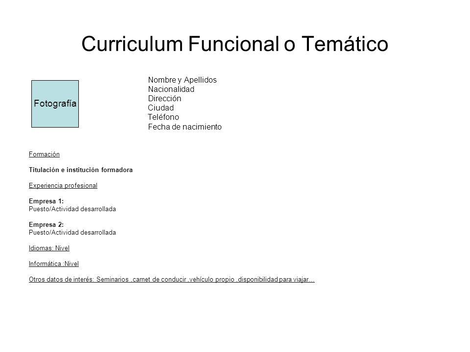 Curriculum Funcional o Temático Nombre y Apellidos Nacionalidad Dirección Ciudad Teléfono Fecha de nacimiento Formación Titulación e institución forma