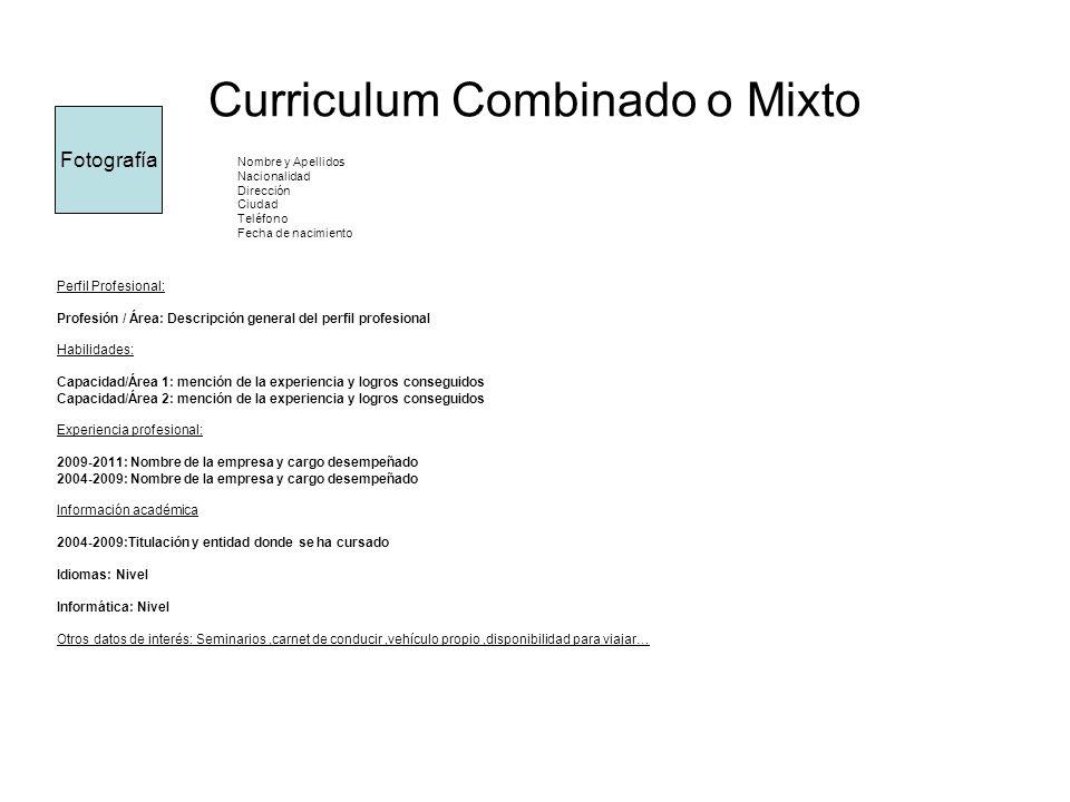Curriculum Combinado o Mixto Nombre y Apellidos Nacionalidad Dirección Ciudad Teléfono Fecha de nacimiento Perfil Profesional: Profesión / Área: Descr