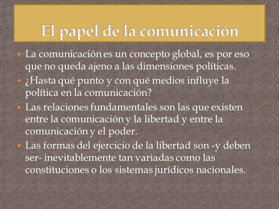 La comunicación es un concepto global, es por eso que no queda ajeno a las dimensiones políticas. ¿Hasta qué punto y con qué medios influye la polític