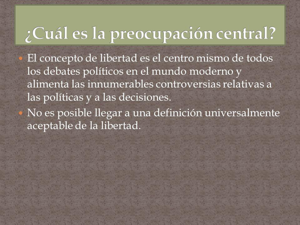 El concepto de libertad es el centro mismo de todos los debates políticos en el mundo moderno y alimenta las innumerables controversias relativas a la