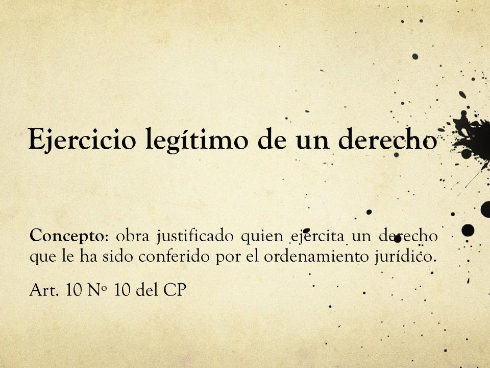 Ejercicio legítimo de un derecho Concepto : obra justificado quien ejercita un derecho que le ha sido conferido por el ordenamiento jurídico. Art. 10