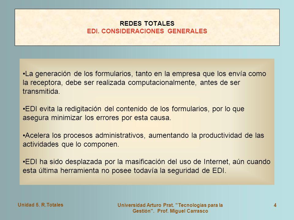 Unidad 5.R.Totales Universidad Arturo Prat. Tecnologías para la Gestión .