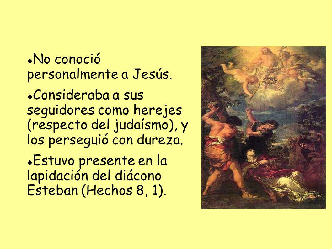 No conoció personalmente a Jesús. Consideraba a sus seguidores como herejes (respecto del judaísmo), y los perseguió con dureza. Estuvo presente en la