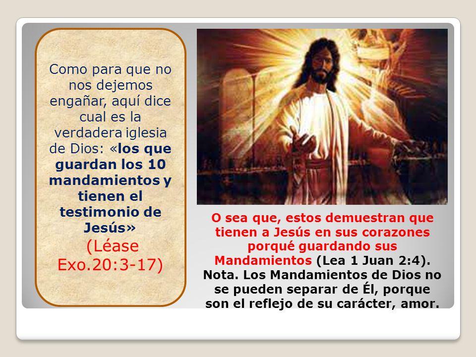 Como para que no nos dejemos engañar, aquí dice cual es la verdadera iglesia de Dios: «los que guardan los 10 mandamientos y tienen el testimonio de J
