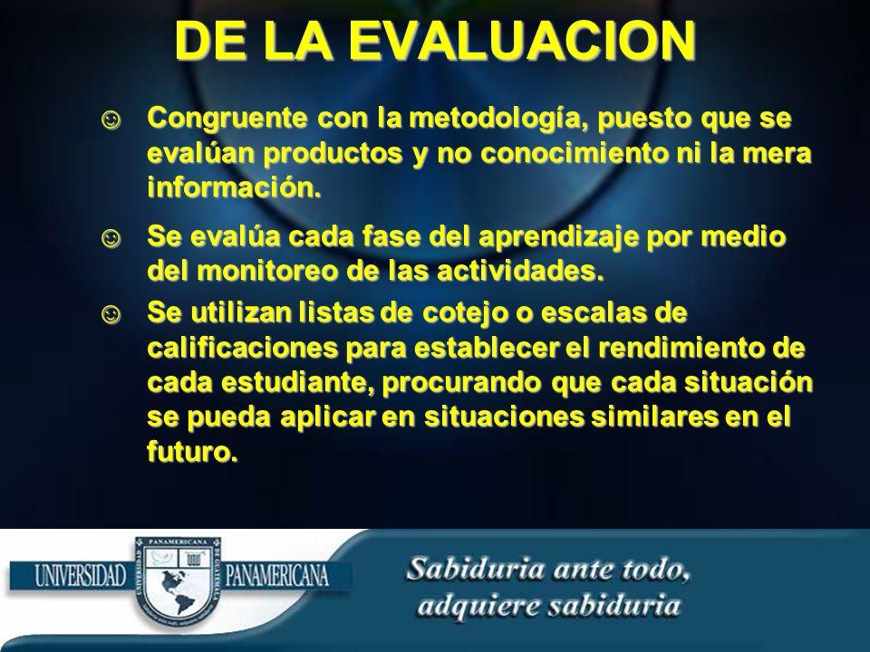 DE LA EVALUACION Congruente con la metodología, puesto que se evalúan productos y no conocimiento ni la mera información.Congruente con la metodología, puesto que se evalúan productos y no conocimiento ni la mera información.