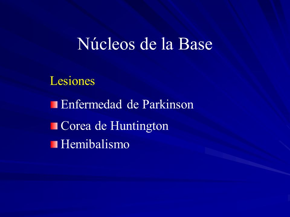 Núcleos de la Base Lesiones Enfermedad de Parkinson Corea de Huntington Hemibalismo