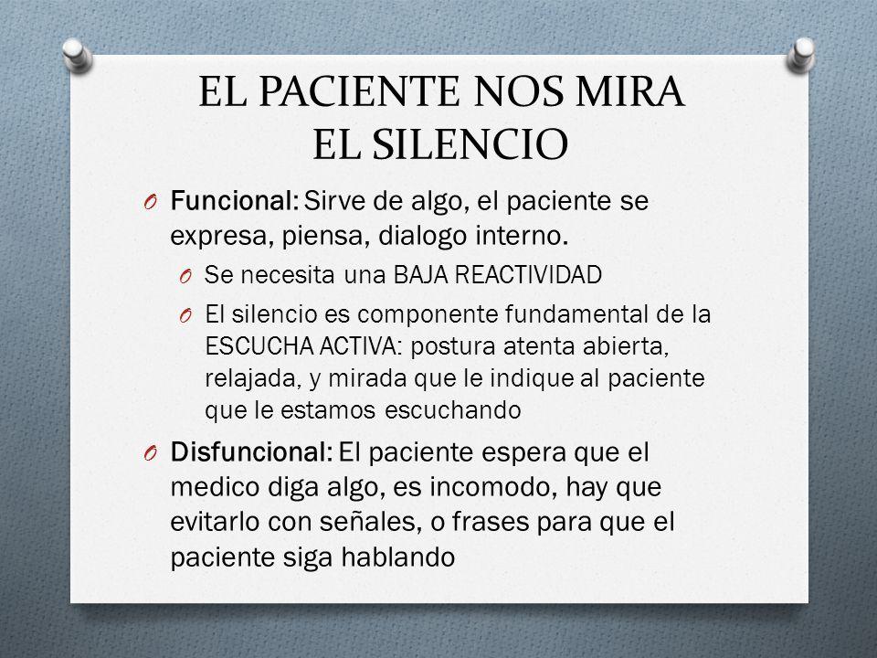 EL PACIENTE NOS MIRA EL SILENCIO O Funcional: Sirve de algo, el paciente se expresa, piensa, dialogo interno. O Se necesita una BAJA REACTIVIDAD O El