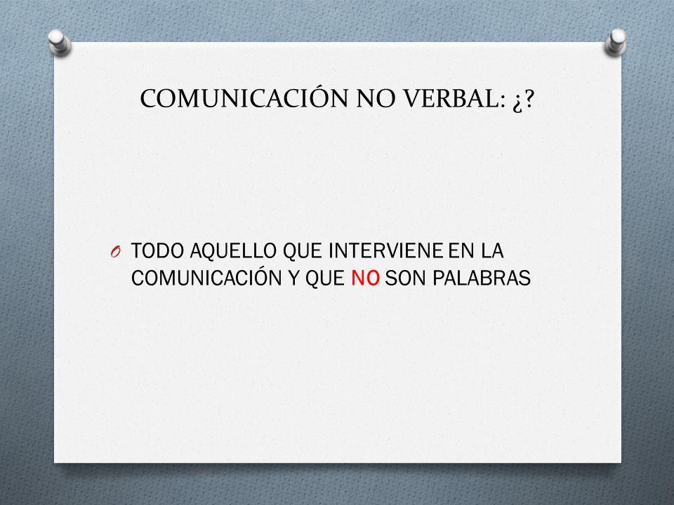 COMUNICACIÓN NO VERBAL: ¿? O TODO AQUELLO QUE INTERVIENE EN LA COMUNICACIÓN Y QUE NO SON PALABRAS