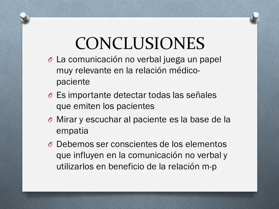 CONCLUSIONES O La comunicación no verbal juega un papel muy relevante en la relación médico- paciente O Es importante detectar todas las señales que e