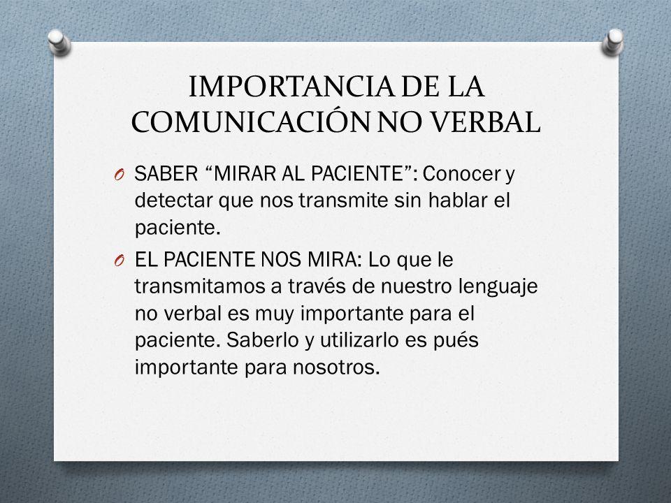 IMPORTANCIA DE LA COMUNICACIÓN NO VERBAL O SABER MIRAR AL PACIENTE: Conocer y detectar que nos transmite sin hablar el paciente. O EL PACIENTE NOS MIR