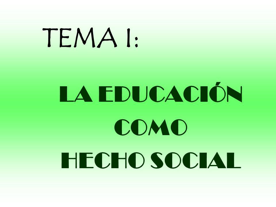 TEMA I: LA EDUCACIÓN COMO HECHO SOCIAL