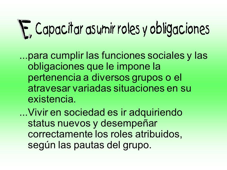 ...para cumplir las funciones sociales y las obligaciones que le impone la pertenencia a diversos grupos o el atravesar variadas situaciones en su exi